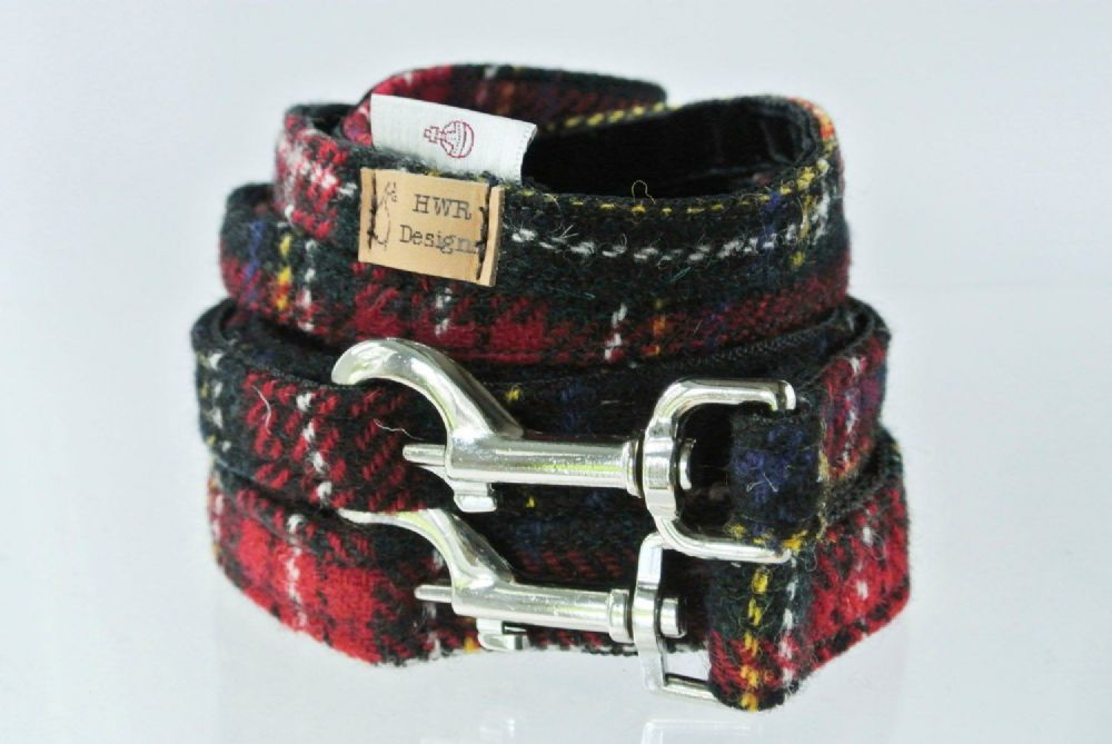 Harris Tweed Red and Black tartan Dog Lead.